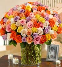 100 Multicolored Roses in a Vase